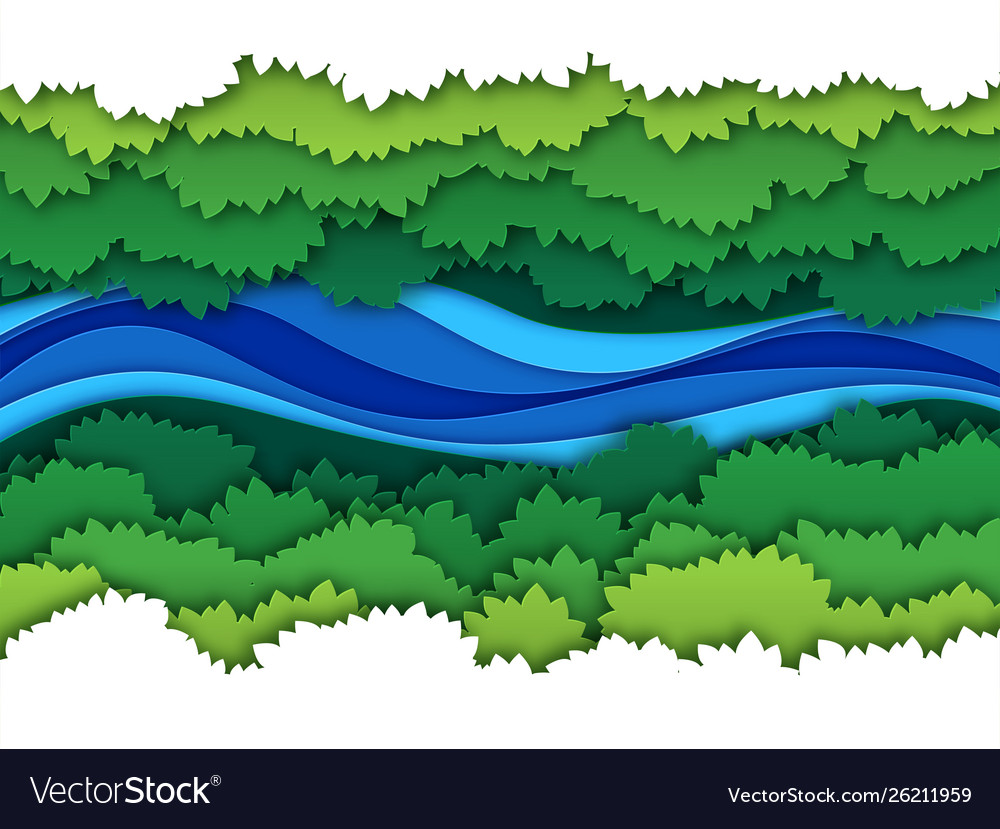 Paper river top view water stream surrounded by