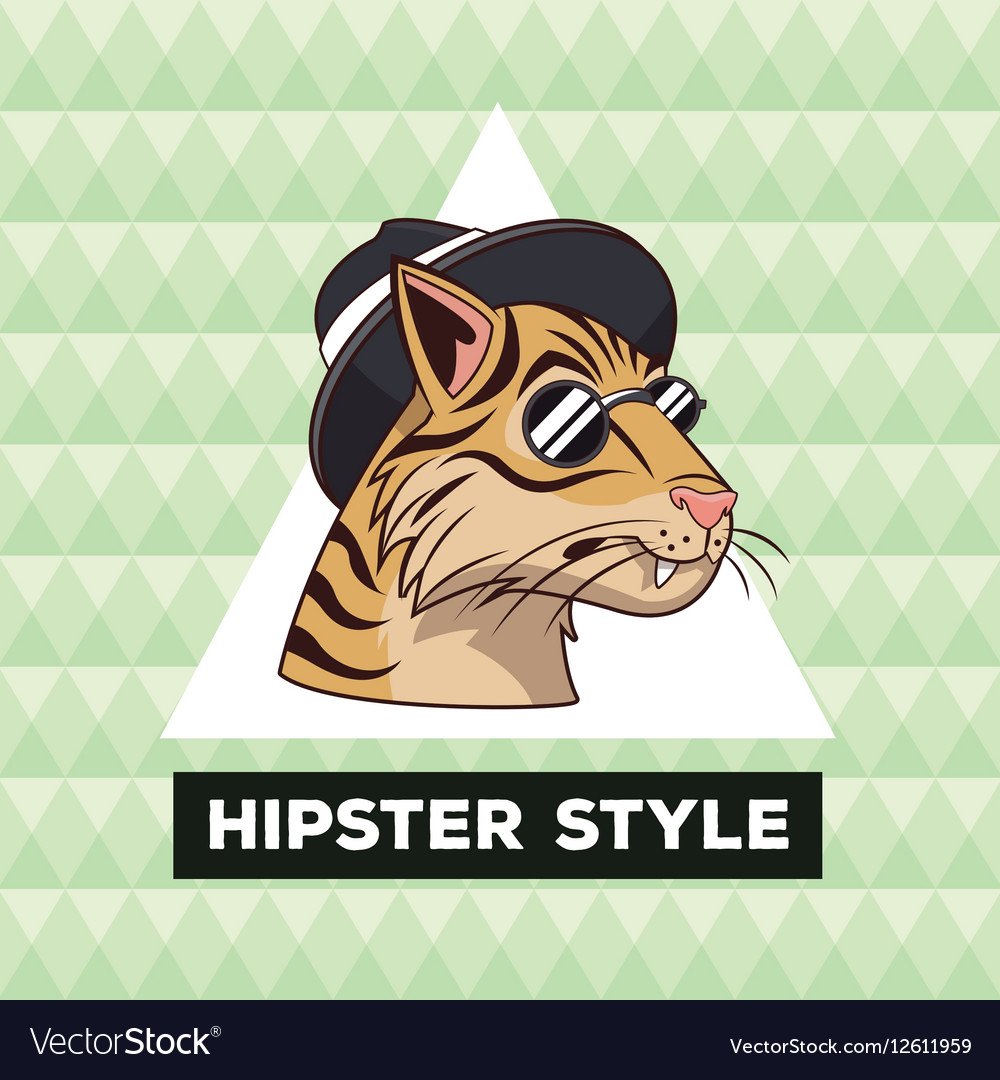 Portrait tiger hipster style green geometric