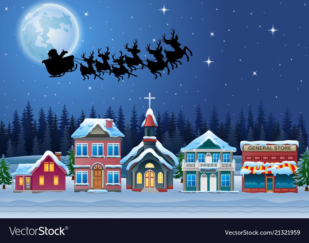 santa claus riding his reindeer sleigh flying in t