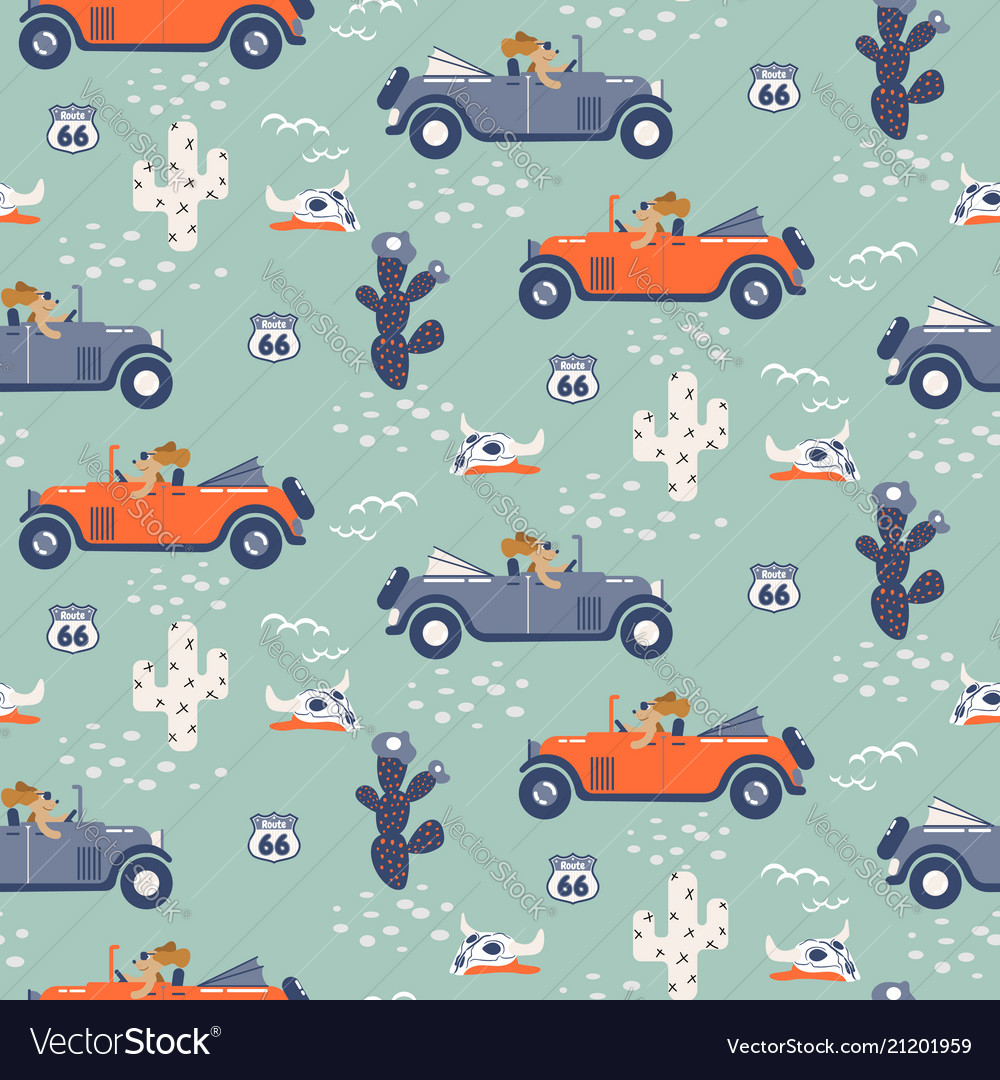Seamless pattern with dogs on cars in
