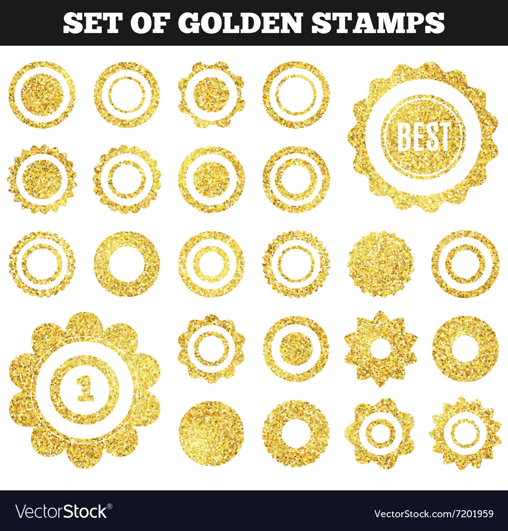 Set of golden grunge stamp Round shapes