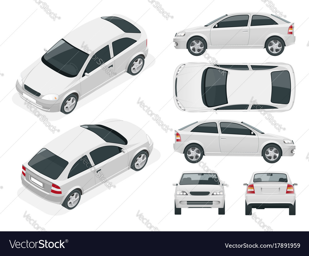 Set of sedan cars