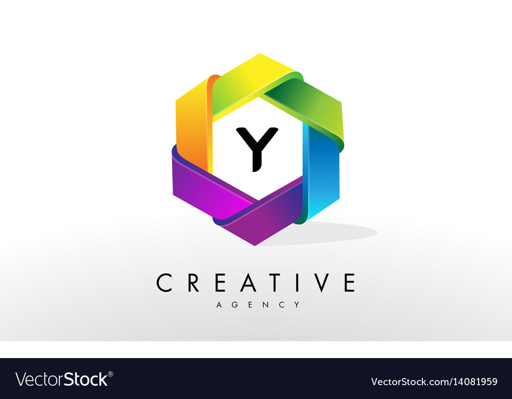 Y letter logo corporate hexagon design