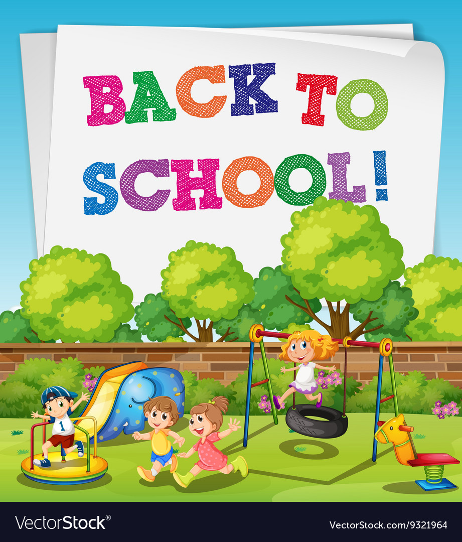 Back to school theme with children in playground vector image