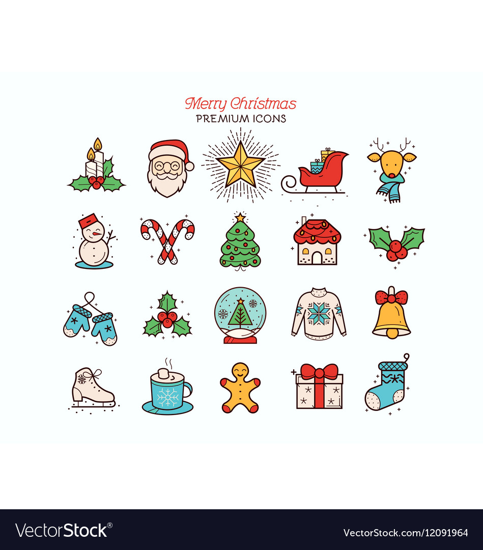 Christmas flat thin line icon collection