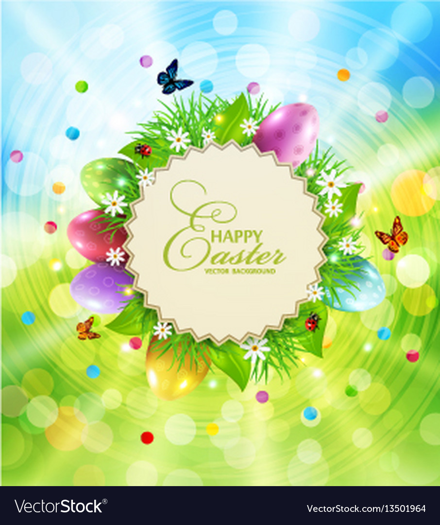 Easter background with a round card for text