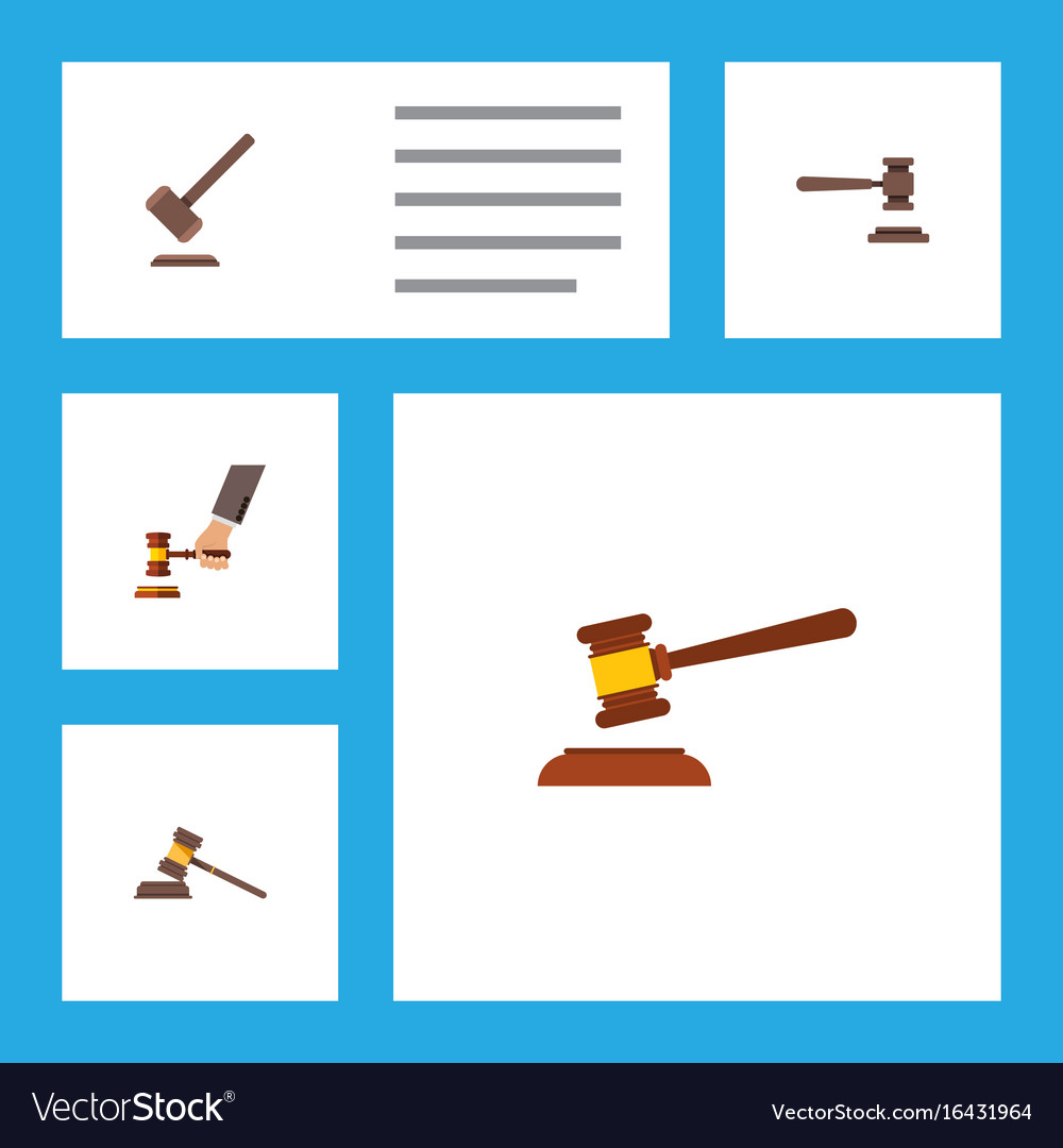Flat icon court set of legal court tribunal and