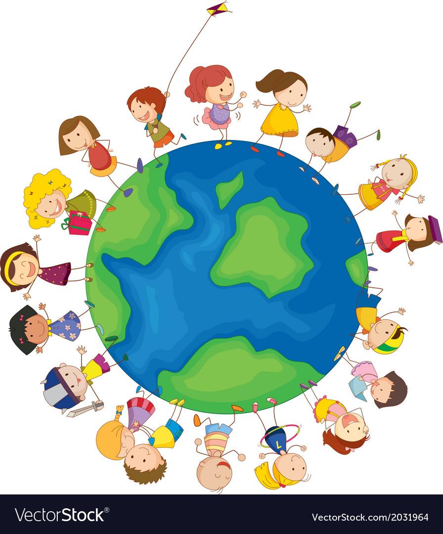 Kids around the globe vector image