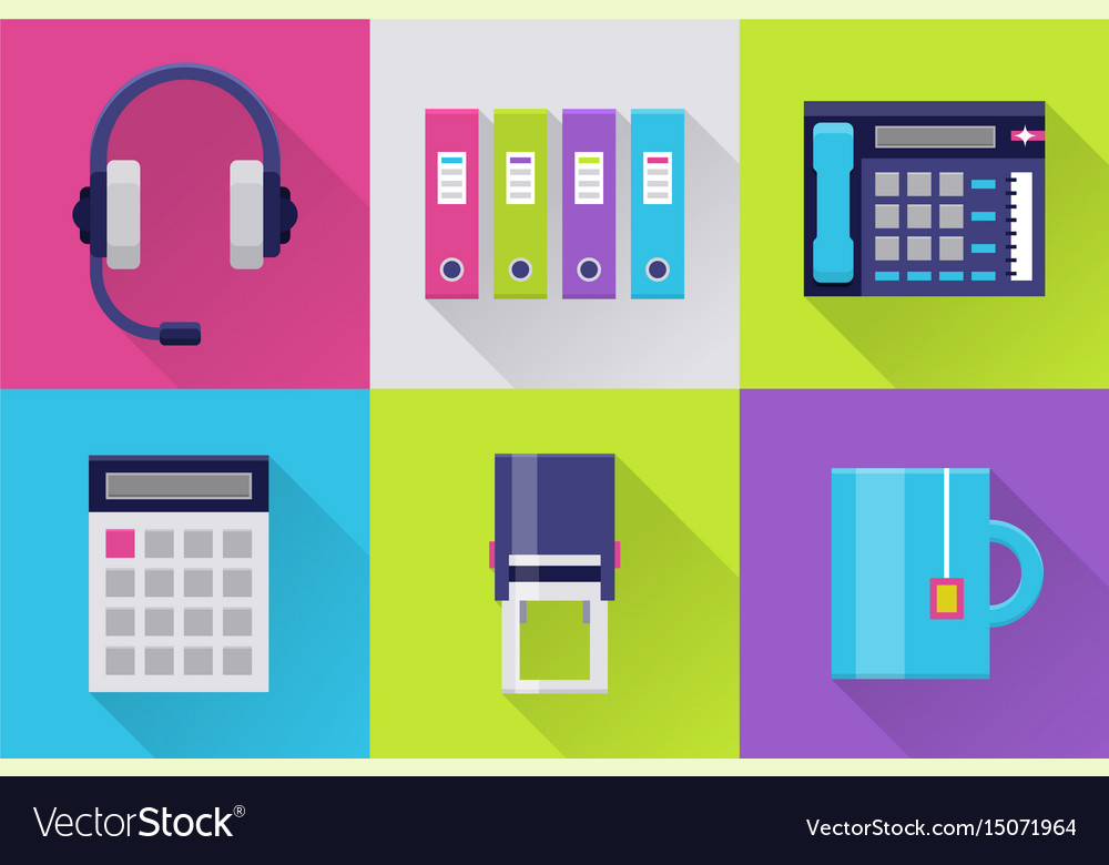 Modern icons set for office