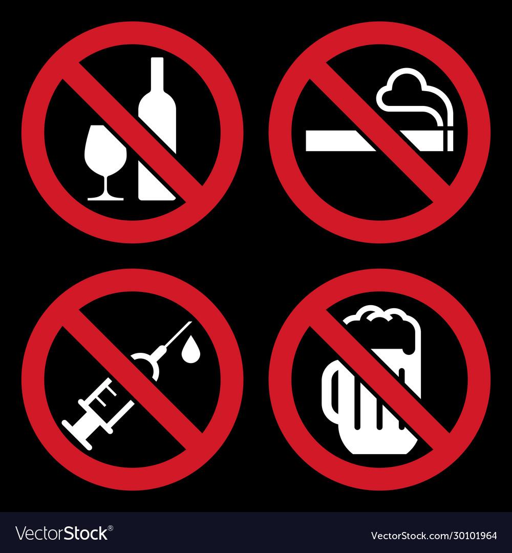 No alcohol sign no smoking sign no alcohol sign