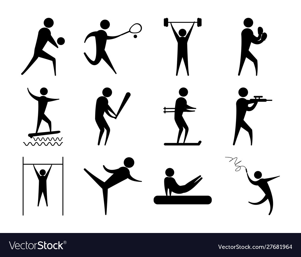 Silhouette people sport different activity icons
