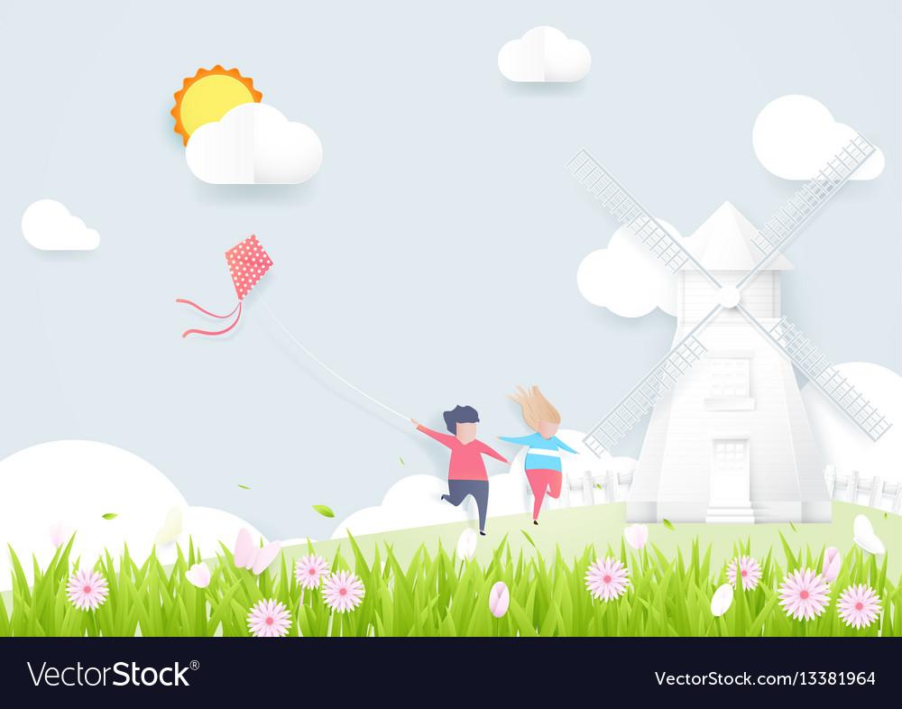 Spring season concept boy and girl playing kite