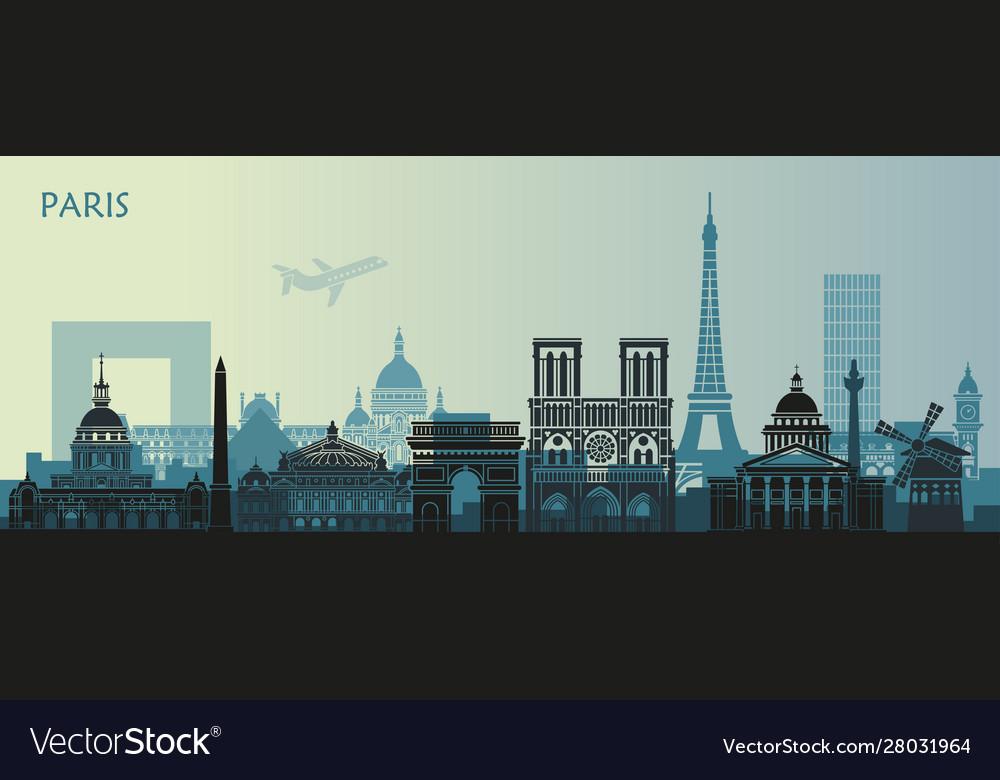 Stylized landscape paris with eiffel tower arc