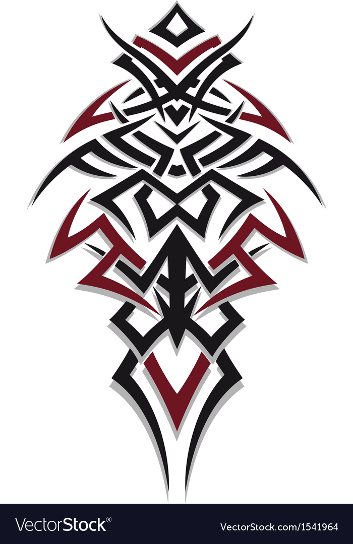 Tribal Tattoo Red Black Royalty Free Vector Image