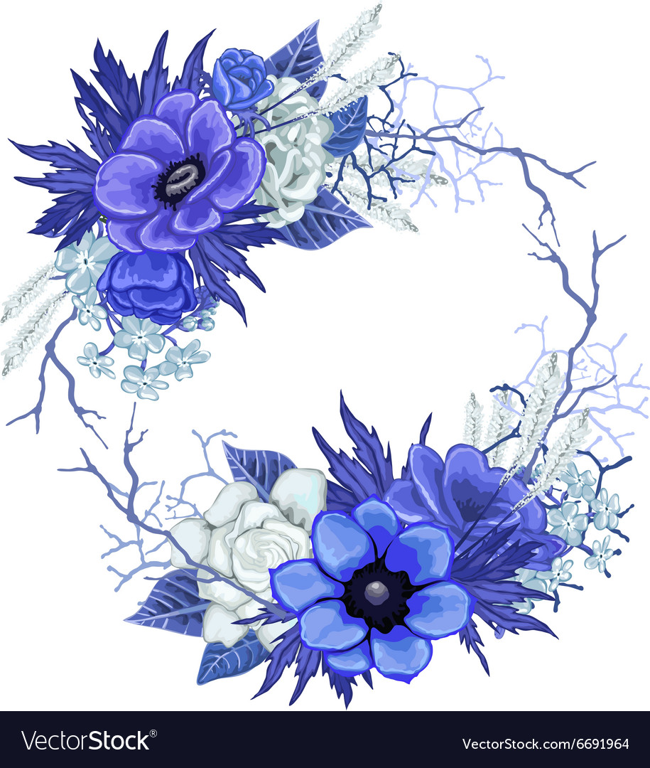 Vintage floral wreath in blue colors royalty free vector vintage floral wreath in blue colors vector image izmirmasajfo
