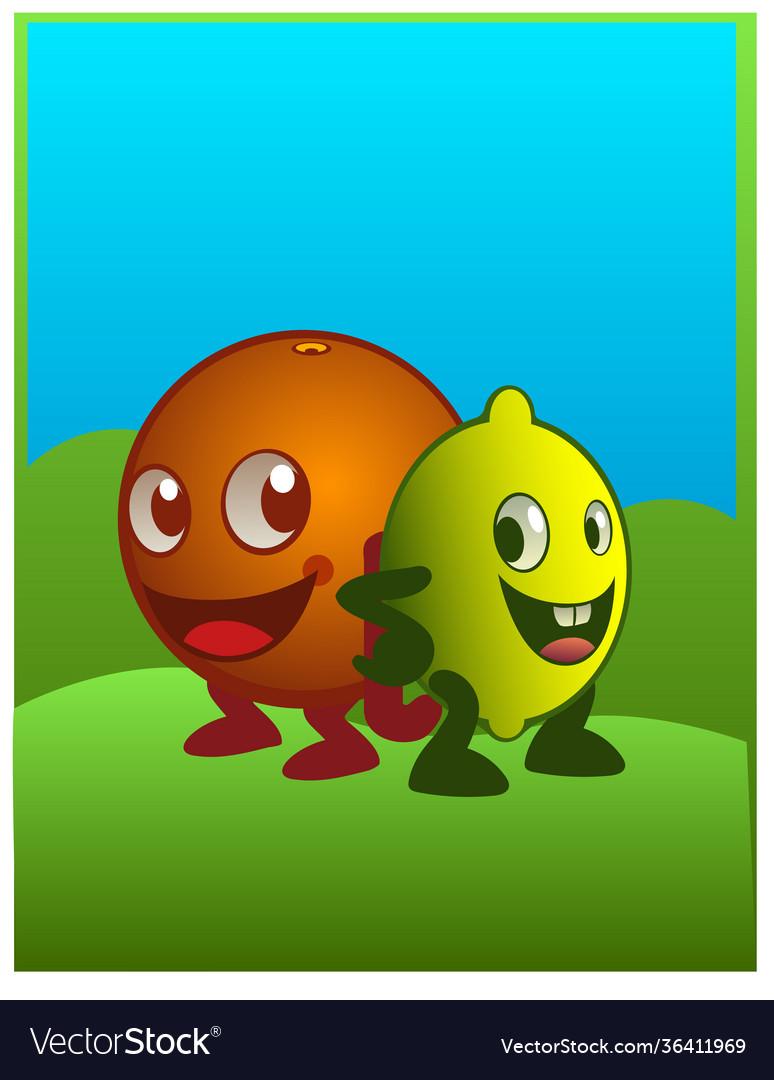 An orange an lemon characters smiling in cartoon
