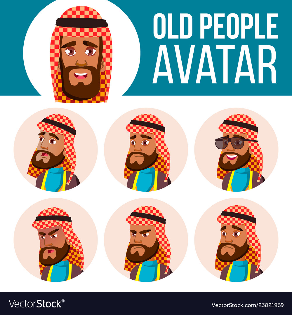 Arab muslim old man avatar set face