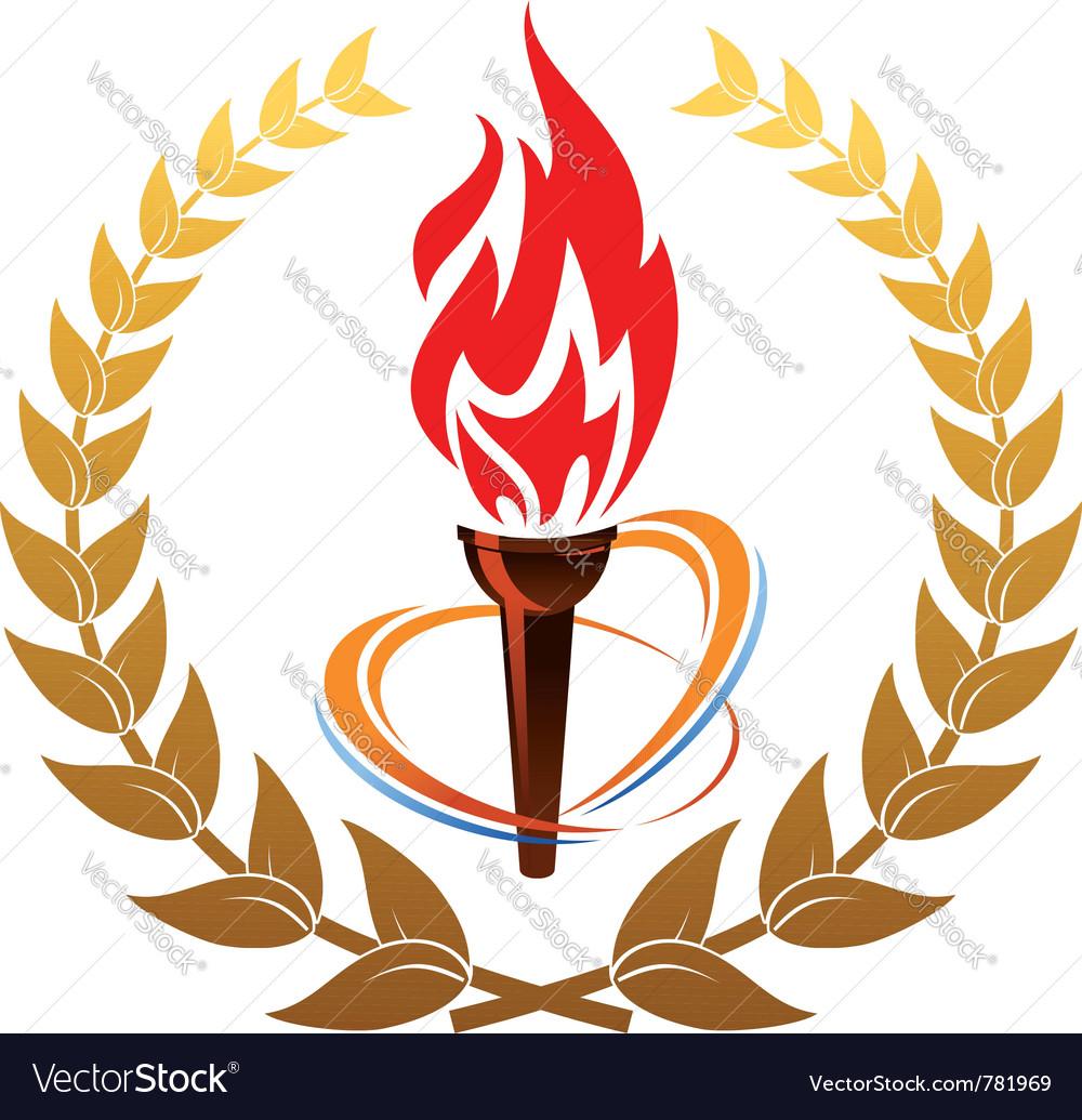 Flaming torch in laurel wreath