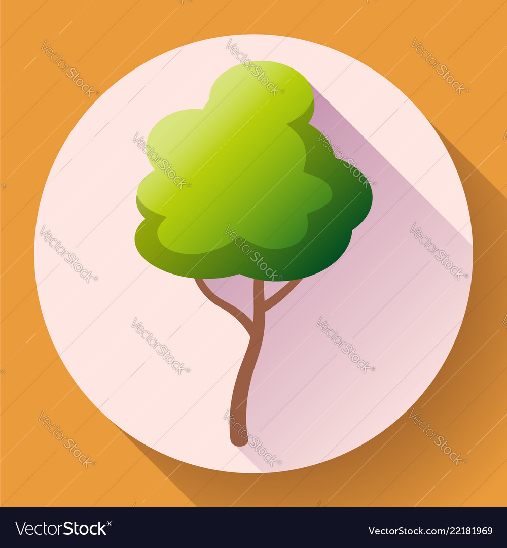 Flat green tree icon save forest and