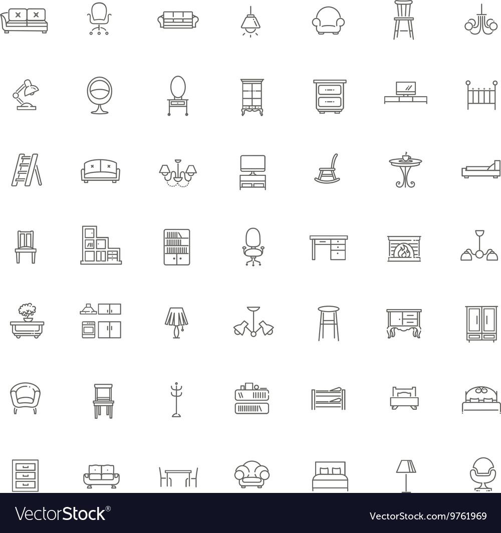 Furniture and home decor icon set