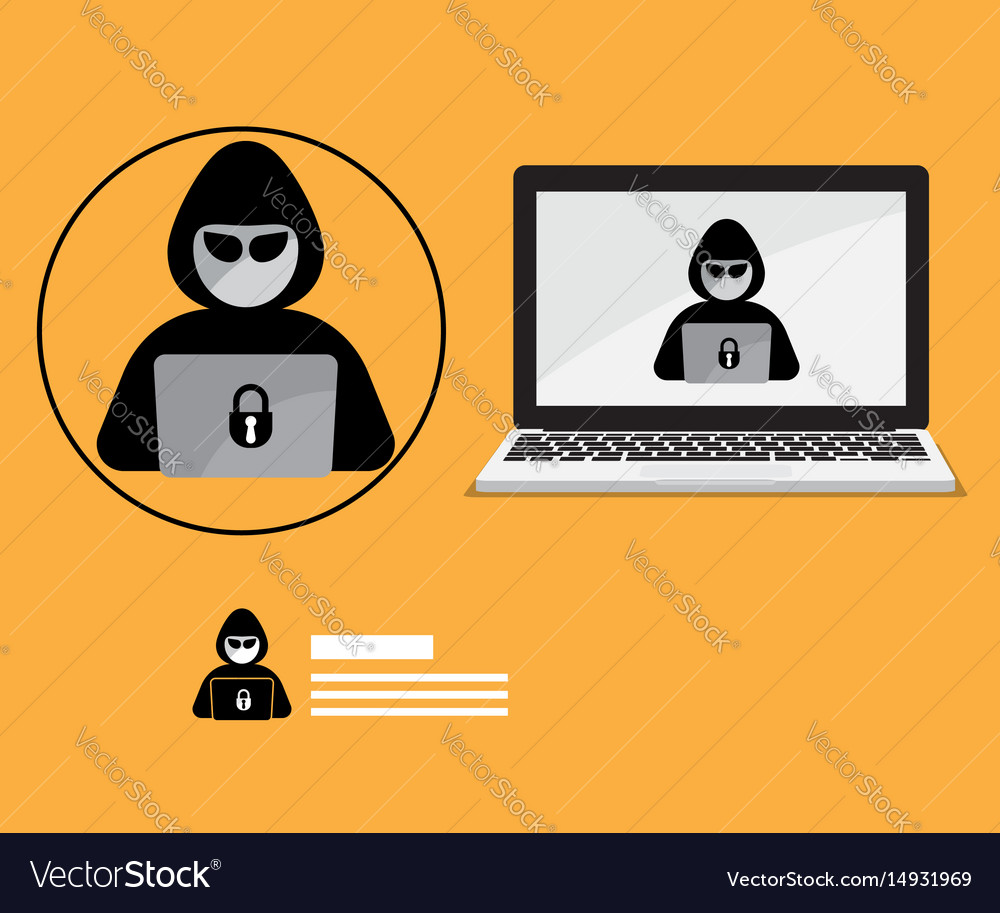 Hacker logo with laptop background