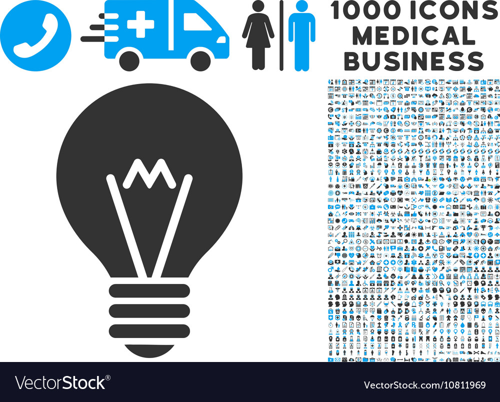 Hint Bulb Icon with 1000 Medical Business Symbols vector image