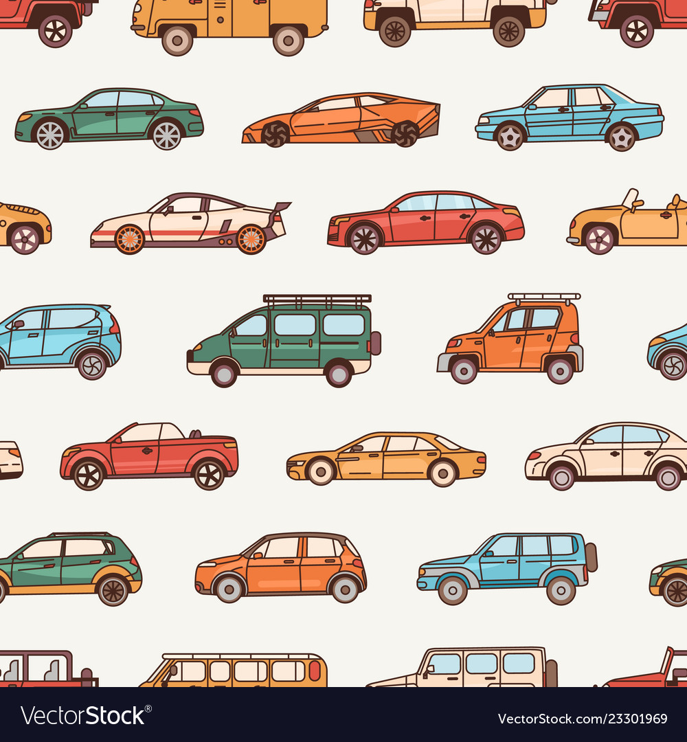 Seamless pattern with cars of various body