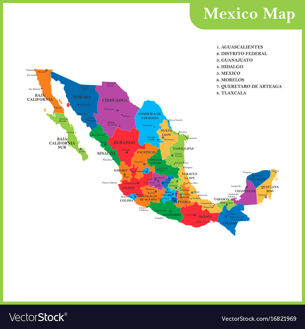 The detailed map of the mexico Royalty Free Vector Image