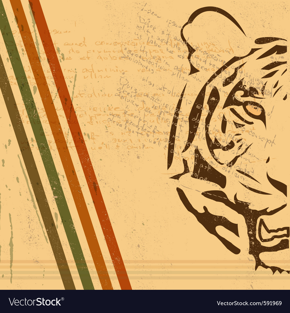 vintage tiger background royalty free vector image