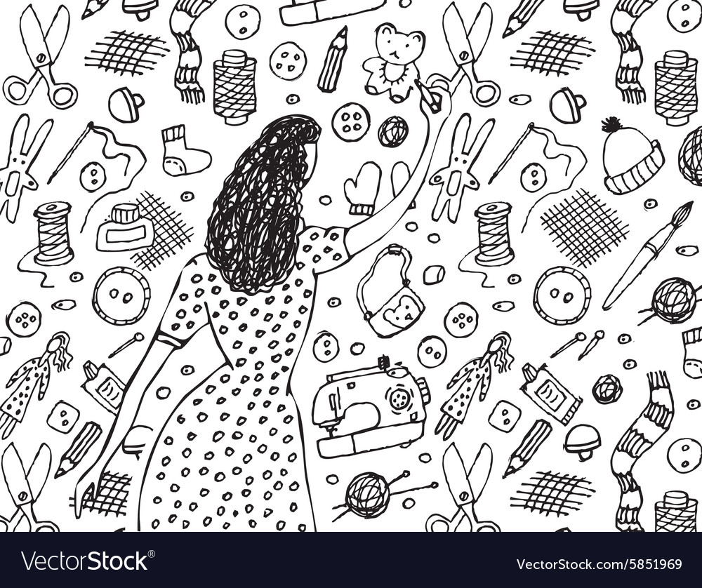 Woman drawing handmade black and white