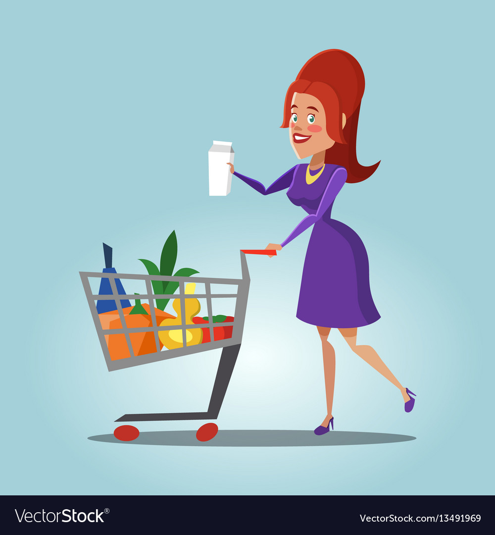 Woman with shopping basket full of fresh products