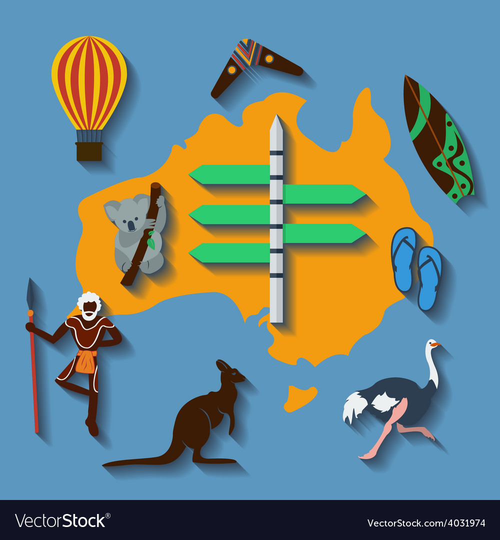 Australia travel flat color