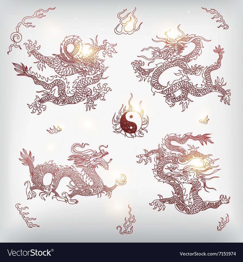 Background with asia dragons Hand drawn