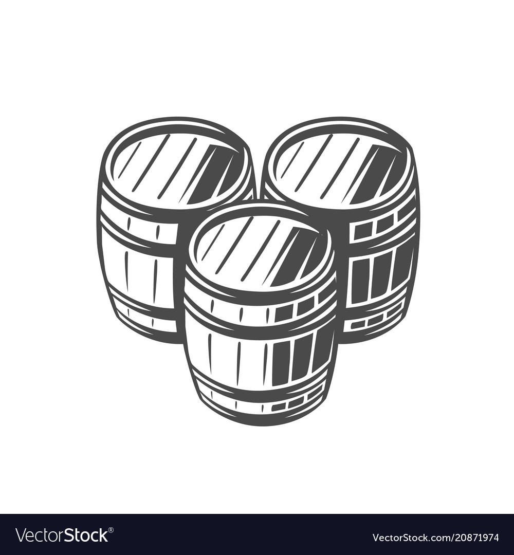 Barrel black and white vector