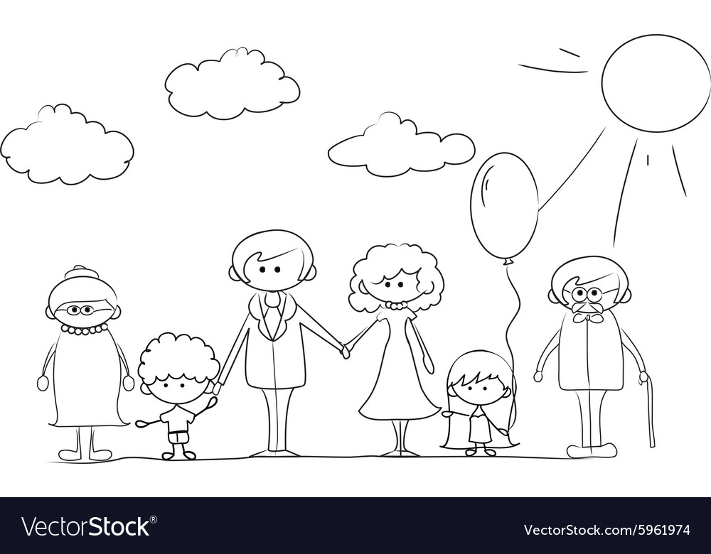 Cartoon Family outline Royalty Free Vector Image
