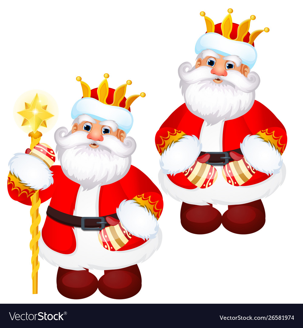 Funny santa claus in a gold royal crown with a