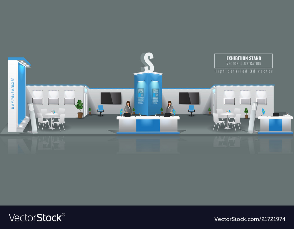 Exhibition Booth Mockup Free Download : Grand exhibition stand display mock up high vector image