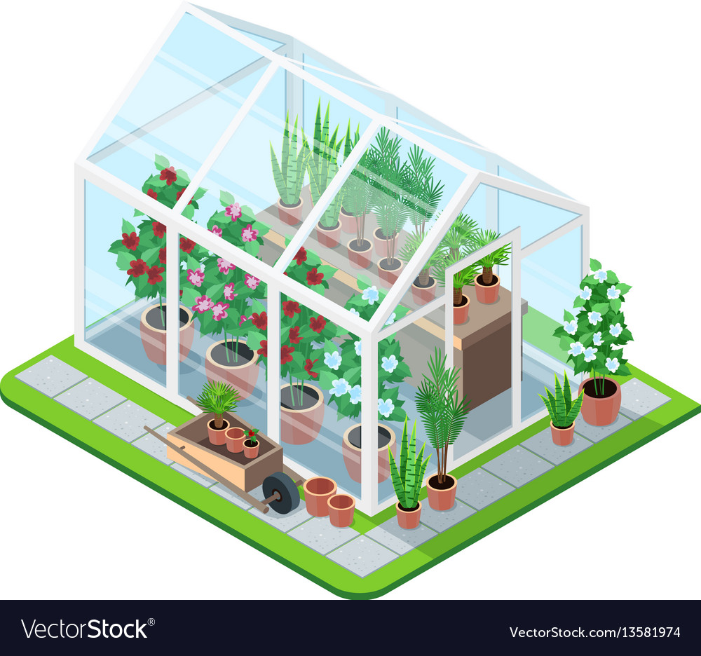 Greenhouse isometric composition