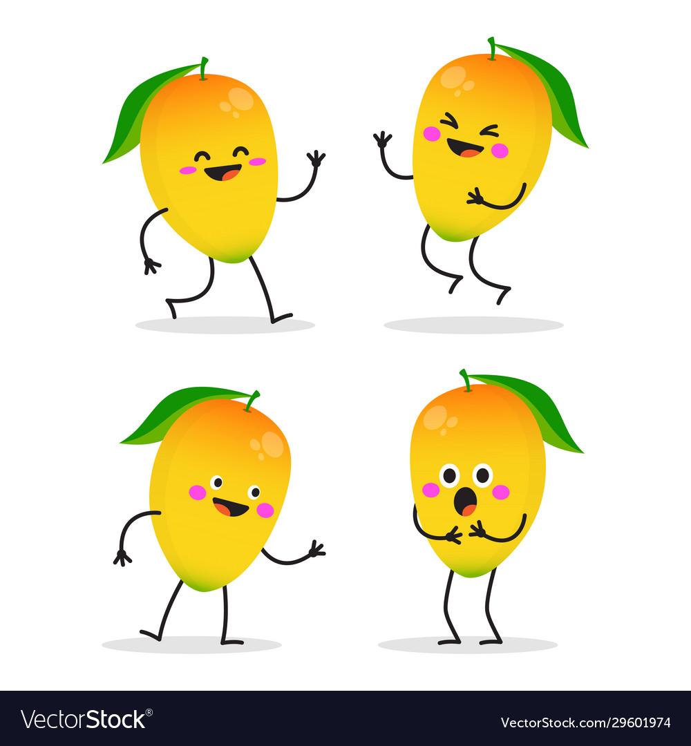 Mango cute fruit character set