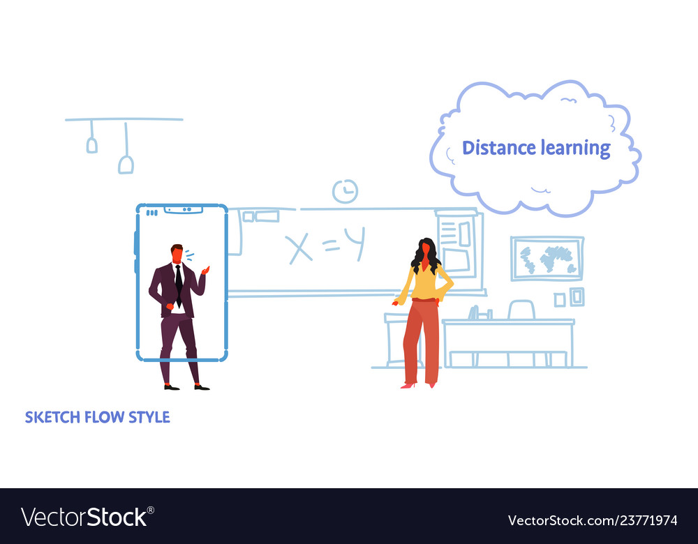 Math teacher teaching business man using mobile