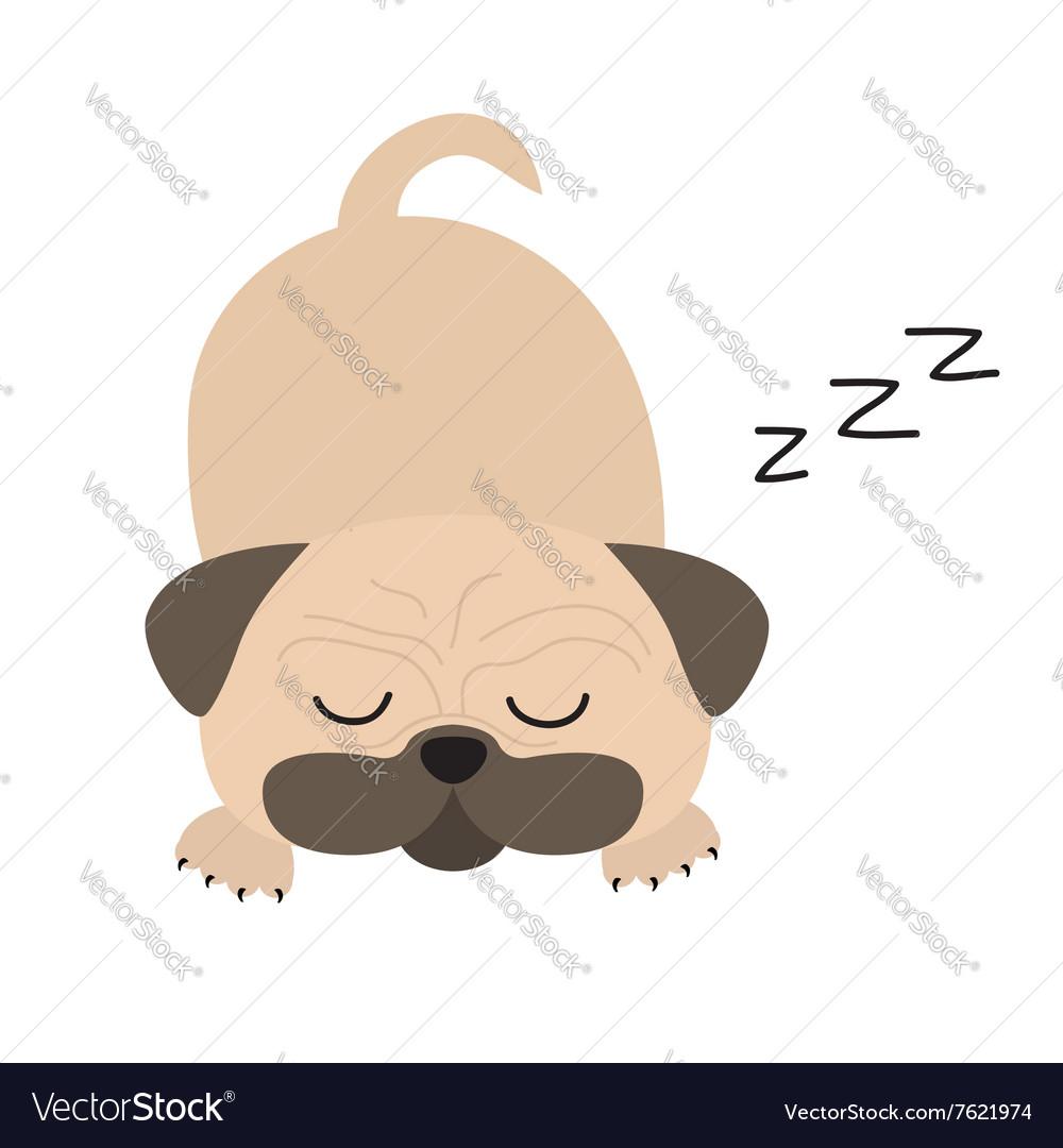 Mops pug dog Cute cartoon character Flat design