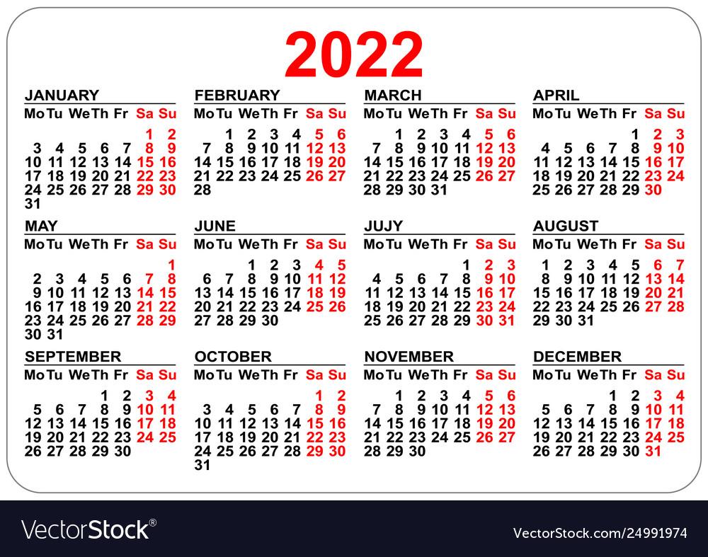 Work Week Calendar 2022.Office Pocket Calendar 2022 Year Template Vector Image