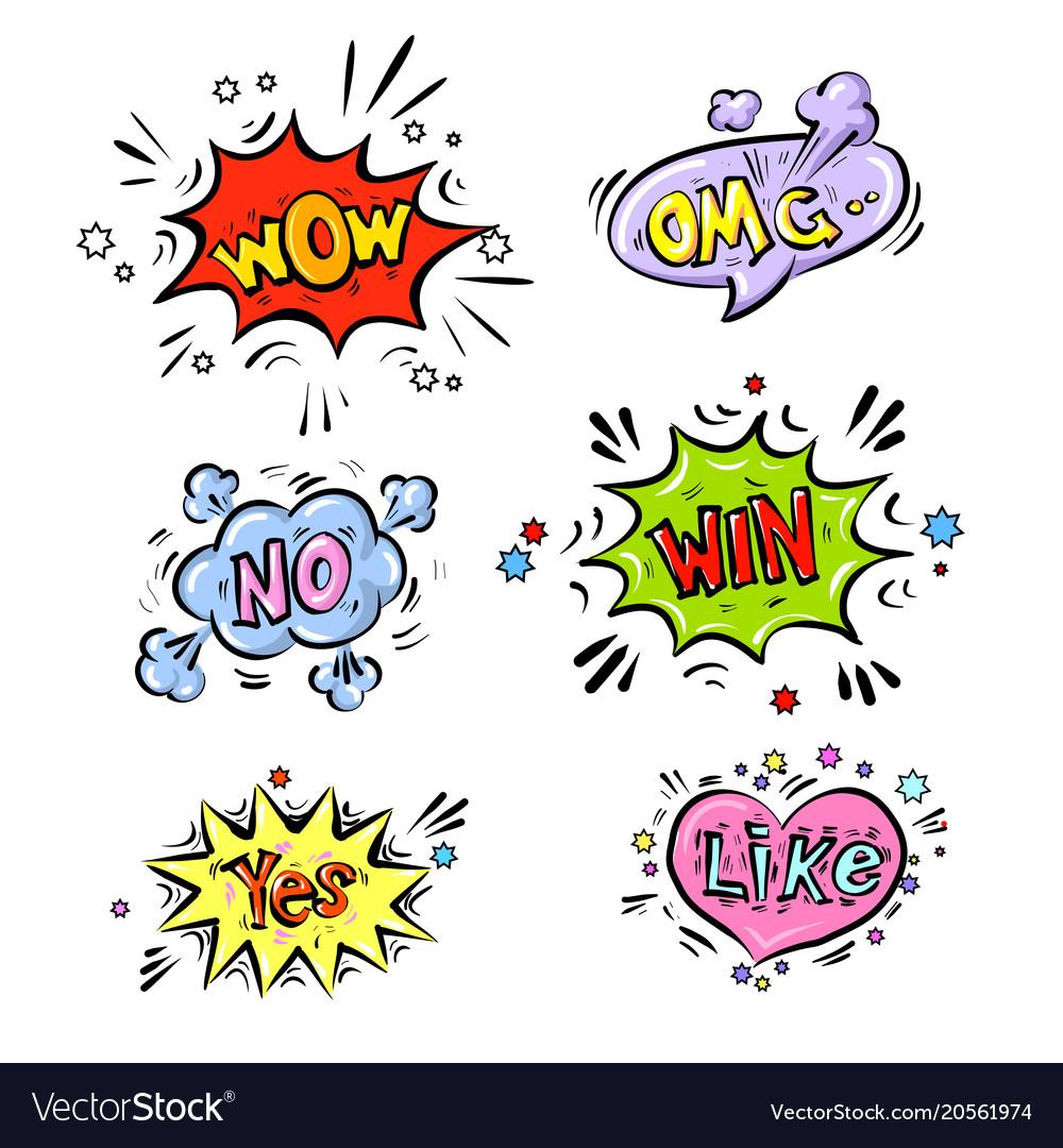 Retro comic speech bubbles set with colorful