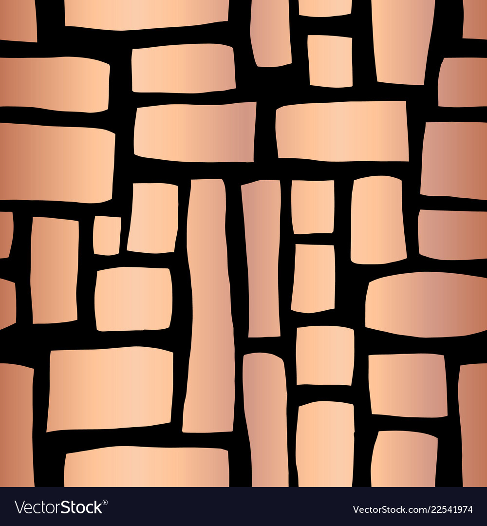 Rose gold foil rectangle shapes seamless pattern