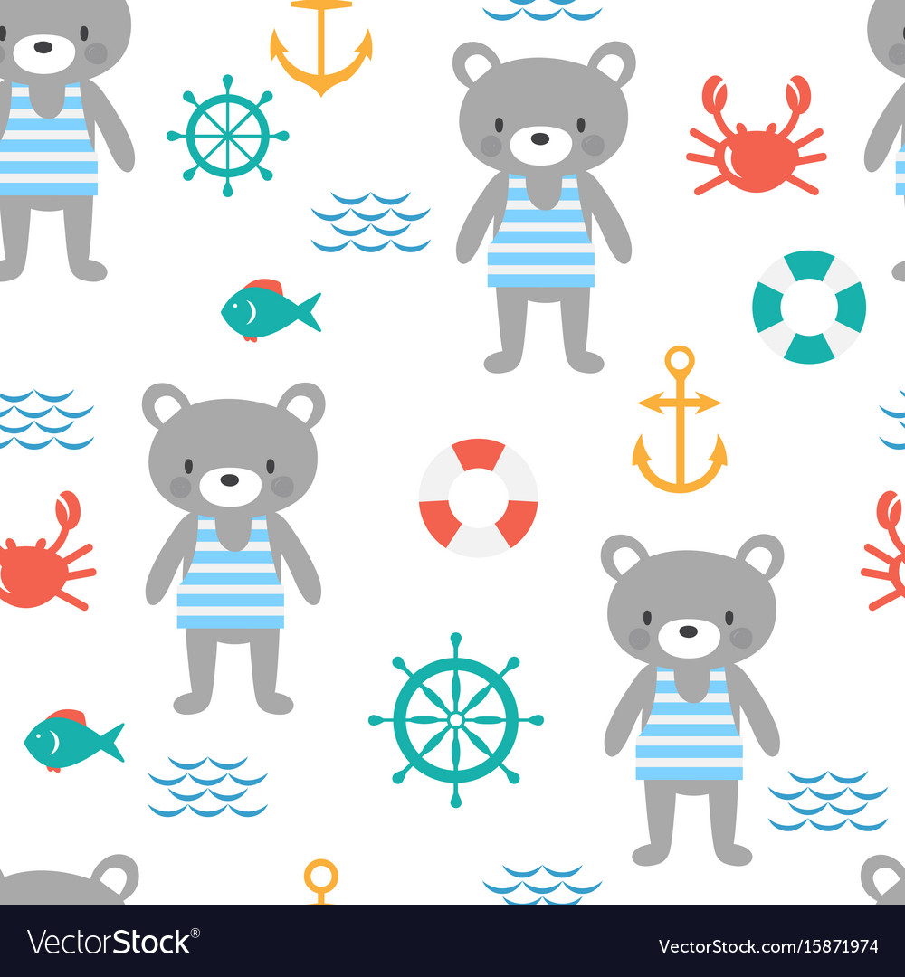Seamless pattern with cute little bear sailor