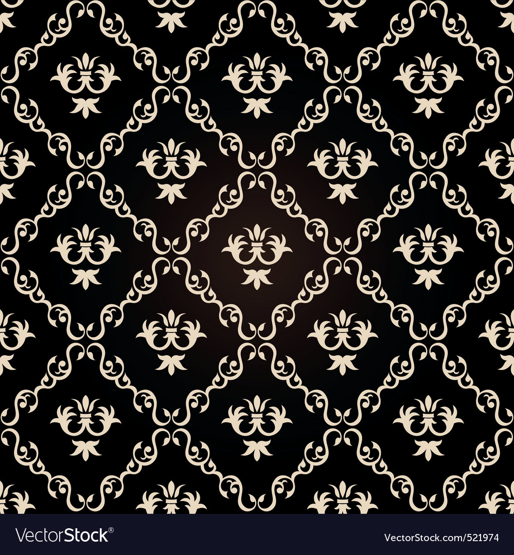 Seamless Vintage Wallpaper Background Floral Black