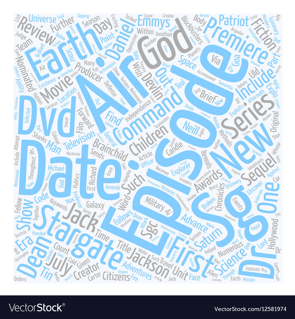 Stargate SG DVD Review text background wordcloud vector image