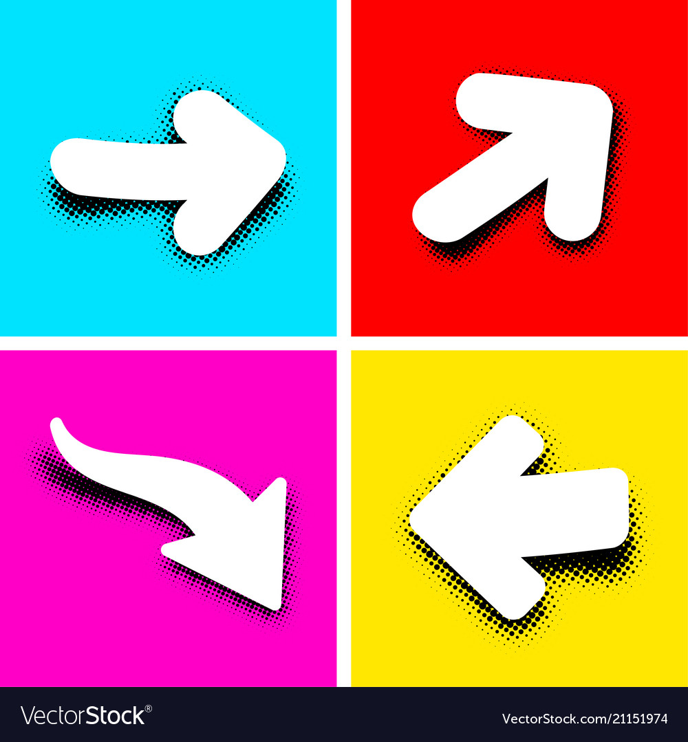White pop art arrows on colored background