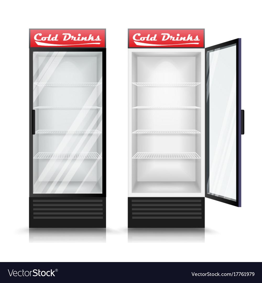 3d Realistic Refrigerator Glass Door Vector Image