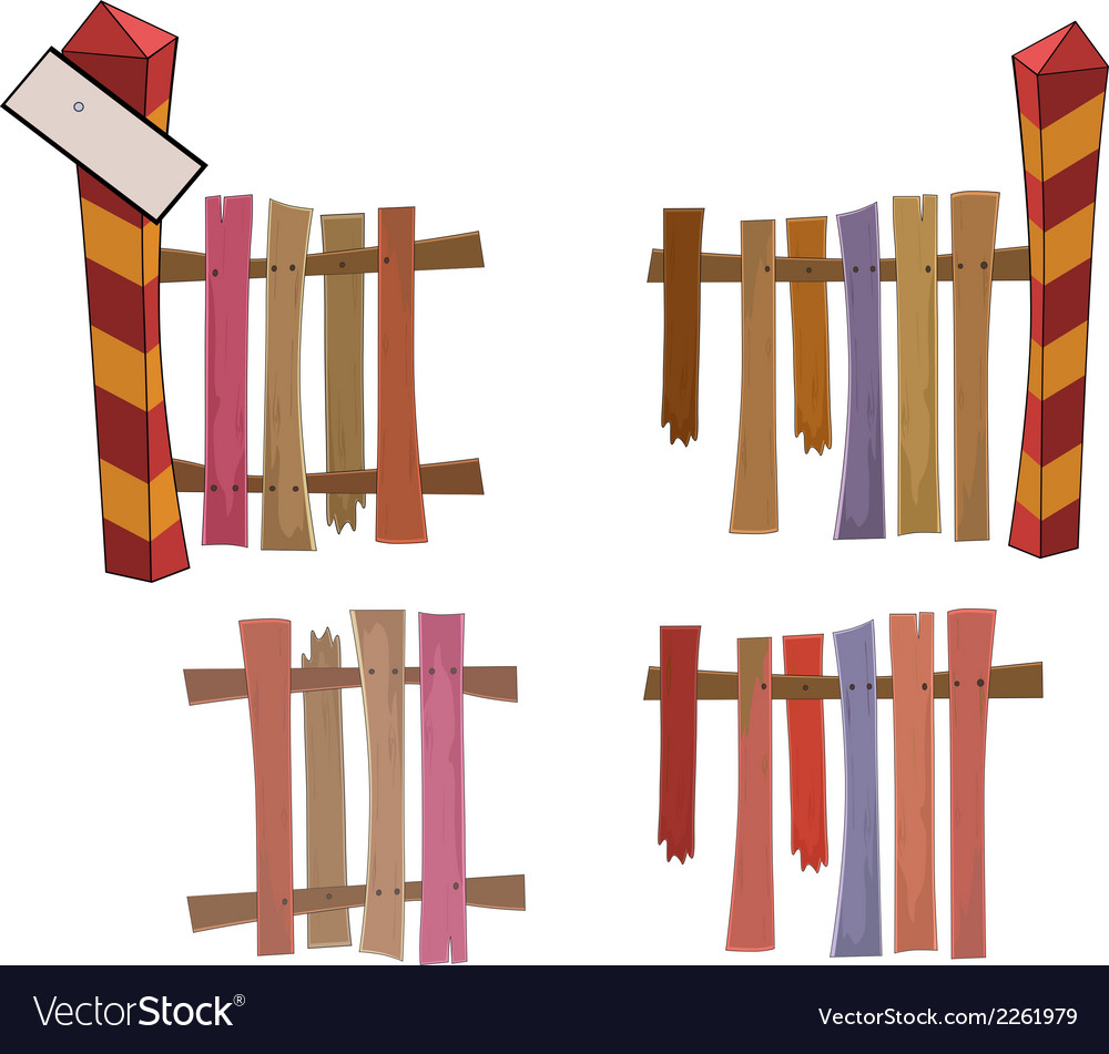 Boundary post and fence vector image